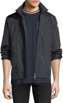 Moncler Nylon Two-Way Zip-Up Logo Jacket, Navy