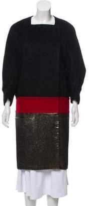 Diane von Furstenberg Metallic-Accented Alpaca Coat