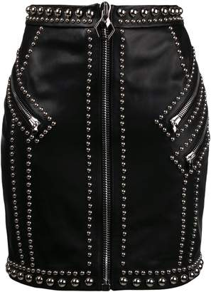 Philipp Plein silver studded fitted skirt