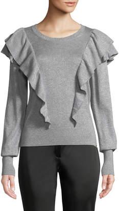 Veronica Beard Centre Ruffle Frills Crewneck Metallic-Knit Sweater