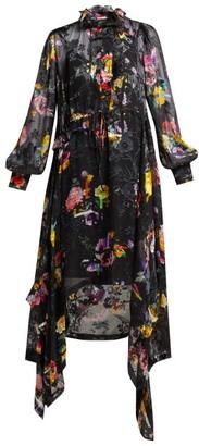 Preen by Thornton Bregazzi Amelia Floral Devore Satin Midi Dress - Womens - Black Multi