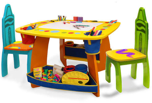 Crayola Grow 'n Up Crayola Wooden Kids 3 Piece Table and Chair Set