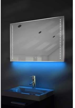 Diamond X Collection Digital Clock Shaver Bathroom Mirror with Under Lighting, Demist & Sensor k195