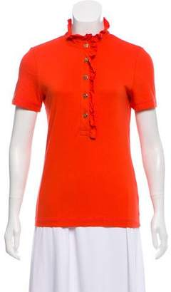 Tory Burch Ruffle-Accented Short Sleeve Top