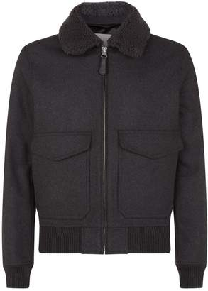 Sandro Shearling Collared Jacket
