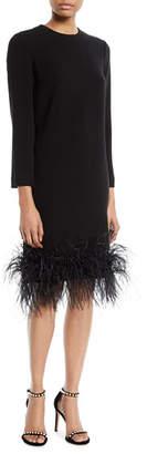 Monique Lhuillier Long-Sleeve Stretch-Crepe Cocktail Dress w/ Feather Hem