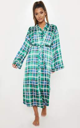PrettyLittleThing Green Check Print Long Sleeve Satin Robe