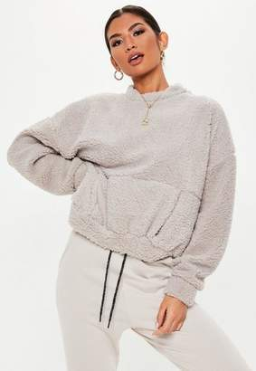 Missguided Tall Light Gray Teddy Pocket Front Sweater