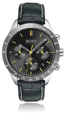 BOSS Chronograph watch with hand-stitched embossed leather strap