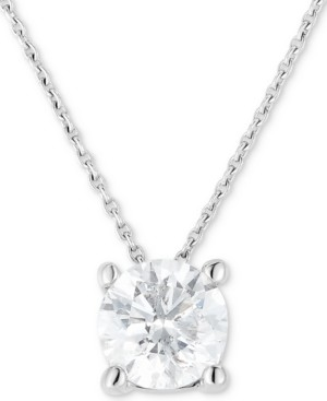 """Macy's Diamond (3/4 ct. t.w.) Solitaire 18"""" Pendant Necklace in 14k White Gold"""