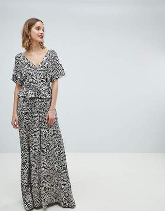 Lost Ink Maxi Dress With Belted Waist In Leopard