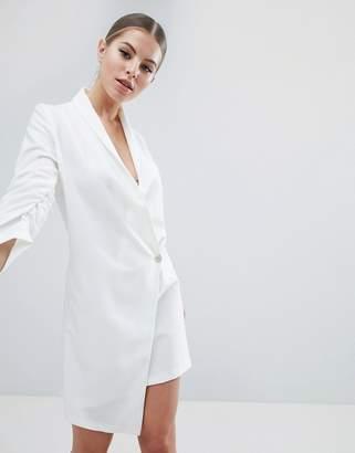 Vesper Ruched Sleeve Asymmetric Hem Tuxedo Dress