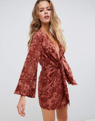 Missguided devore twist front mini dress in rust