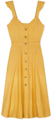 Sessun Solea Yellow Cotton and Linen Dola Summer Dress - L - Yellow