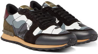 Valentino Garavani Rockrunner Camouflage-Print Canvas, Leather and Suede Sneakers - Gray