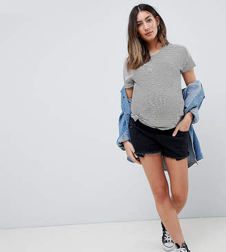 Asos DESIGN Maternity Tall denim Alvey mid rise short with raw hem in washed black