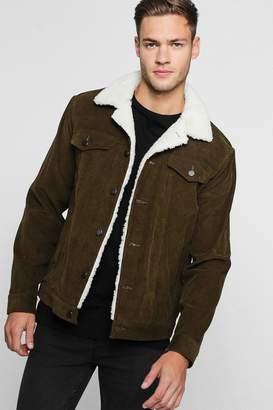 boohoo Corduroy Trucker Jacket With Borg Collar
