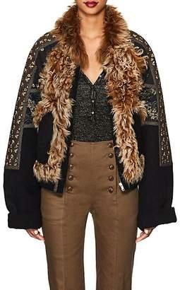 Ulla Johnson Women's Cosme Shearling & Felt Crop Jacket - Navy