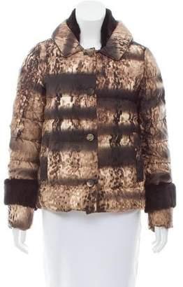 Prada Fur-Trimmed Printed Down Coat