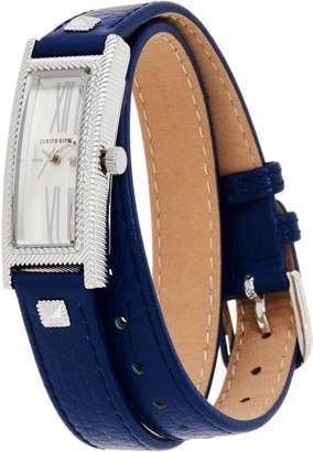 Judith Ripka Stainless Steel Silvertone Leather Wrap Westport Watch