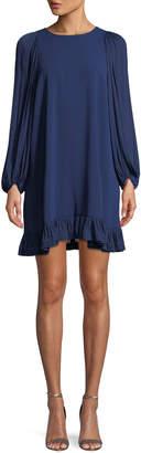 Halston Blouson-Sleeve Ruffled Shift Dress
