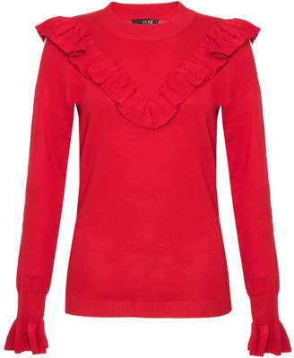 Quiz Red Light Knit Frill Long Sleeve Jumper