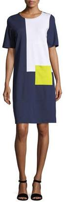 Joan Vass Colorblock Short-Sleeve Pocket Dress