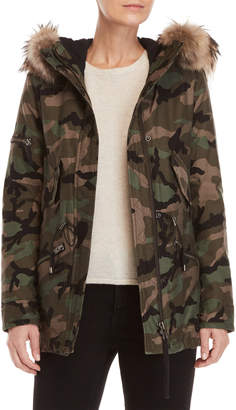 SAM. Real Fur Trim Hooded Camo Coat