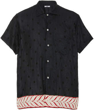 BODE Embroidered Polka-Dot Silk Shirt