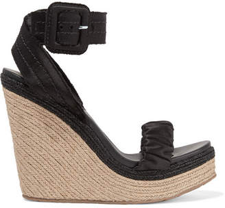 Pedro Garcia Teodora Satin Espadrille Wedge Sandals - Black