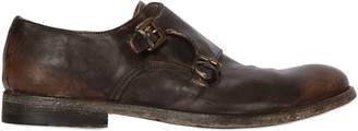 Shoto Washed Leather Monk Strap Shoes