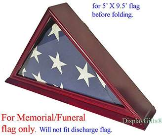 DisplayGifts FC06-CH Solid Wood Elegant 5 x 9.5' Flag Display Case for Burial/Funeral/Veteran Flag
