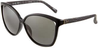 Linda Farrow Oversized Snakeskin\/Acetate Cat-Eye Sunglasses