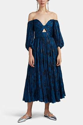 J. Mendel Women's Metallic-Floral Plissé Chiffon Off-The-Shoulder Dress - Blue