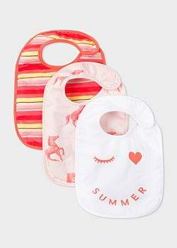 Paul Smith Baby Girls' Multi-Colour 'Horse, Summer And Stripe' Bib Set