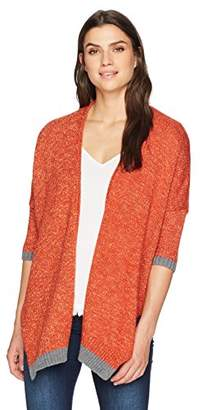 Democracy Women's 3/4 SLV Open Front Cardigan W/Tipping