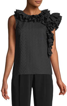 Co Sleeveless Embroidered Cotton Voile Top w/ Ruffle Detail