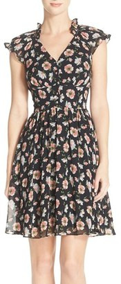 Betsey Johnson Floral Chiffon Fit & Flare Dress $148 thestylecure.com