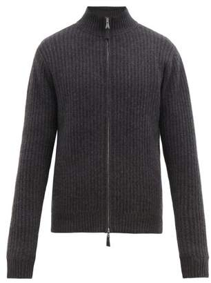 Allude Ribbed Knit Zipped Cashmere Cardigan - Mens - Charcoal