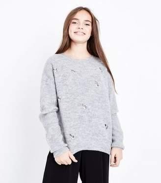 New Look Teens Grey Embellished Jumper