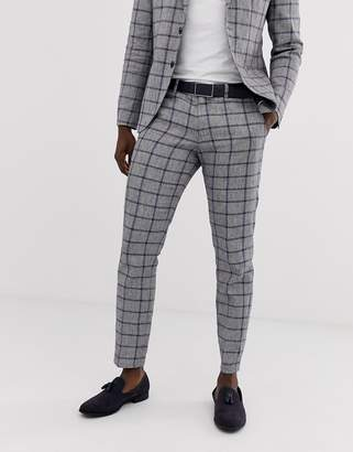 Selected slim suit trouser in window pane check cotton linen