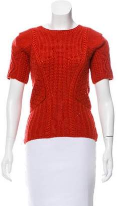Oscar de la Renta Knit Short Sleeve Sweater