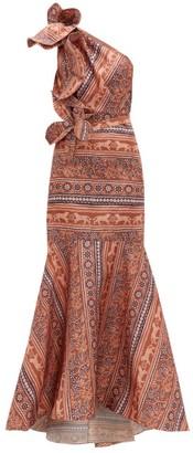 Johanna Ortiz Say Aloha! Floral Print Silk Organza Gown - Womens - Pink Multi