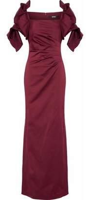 Badgley Mischka Ruffled Pleated Duchesse-Satin Gown
