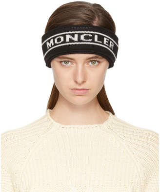 Moncler Black Intarsia Logo Headband