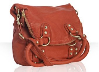 Linea Pelle persimmon leather 'Dylan' folding tote