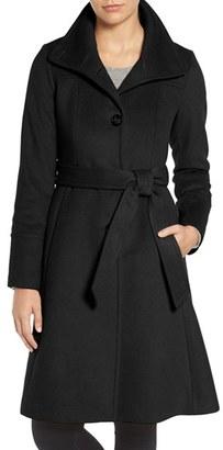Women's Eliza J Luxe Wool Blend Belted Long A-Line Coat $248 thestylecure.com