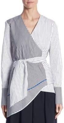 Tome Asymmetric Striped Wrap Top