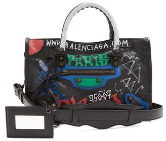Balenciaga Classic City S Bag Graffiti - Womens - Black Green