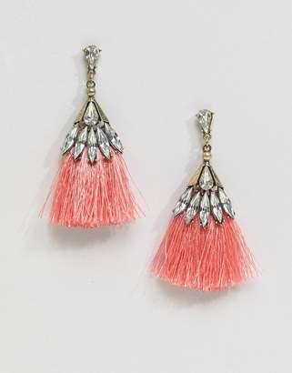 Missguided Crystal Tassle Earring In Pink